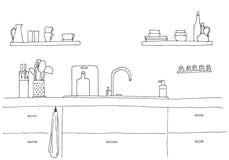 Dispersore di cucina Piano di lavoro della cucina con il lavandino royalty illustrazione gratis