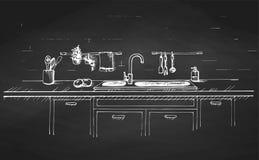 Dispersore di cucina Piano di lavoro della cucina con il lavandino e attinto una lavagna Lo schizzo della cucina illustrazione di stock
