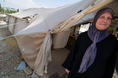 Displaced Palestinian Woman. EAST JERUSALEM - May 27, 2009: Palestinian Fauziyeh Al-Kurd lives in a tent within sight of her home, from which she was displaced Stock Photography