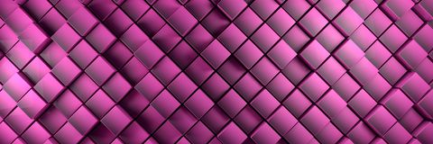 Displaced purple cubes banner background. 3d illustration Royalty Free Stock Images