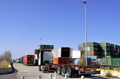 Displacement of the containers Royalty Free Stock Photography