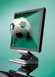 Display. With ball over green background Stock Photos