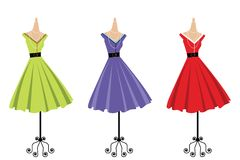 Display of 3 retro dresses. Three different colored retro dresses on display royalty free illustration