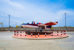 Display of airplane on blue sky background. Display of airplane in museums Stock Image