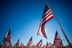 A display of American flags with a sky background Stock Photo