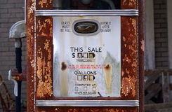 Display of an antique American gas pump stock photos