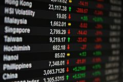 Display of Asia Pacific stock market data on monitor Stock Images