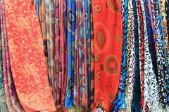 Display of beautiful patterns in colorful scarves for sale Royalty Free Stock Image