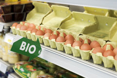 Display of Bio eggs in cartons Stock Image