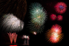 Display of Blooming firework. Mixed color Stock Photo