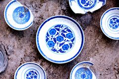 A display of blue and white China porcelain Royalty Free Stock Images