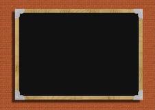 Display board. Corner framed Blackboard display board information board with bricks texture royalty free stock photos