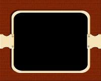 Display board. Framed Blackboard display board information board with brown colour bricks texture stock illustration