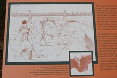 Display board explaining how moats were built at Etowah Indian Mounds. Etowah Indian Mounds are prehistoric archaeological site located on the bank of Etowah Royalty Free Stock Photography