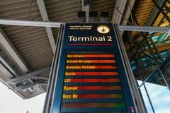 Display board at the Hamburg Airport in Hamburg, Germany. Hamburg, Germany - November 11, 2018: Display board at the Hamburg Airport. Hamburg Airport is the stock photos