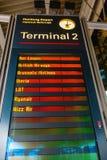 Display board at the Hamburg Airport in Hamburg, Germany. Hamburg, Germany - November 11, 2018: Display board at the Hamburg Airport. Hamburg Airport is the stock photography