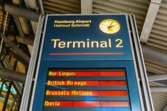 Display board at the Hamburg Airport in Hamburg, Germany. Hamburg, Germany - November 11, 2018: Display board at the Hamburg Airport. Hamburg Airport is the royalty free stock image
