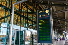 Display board at the Hamburg Airport in Hamburg, Germany. Hamburg, Germany - November 11, 2018: Display board at the Hamburg Airport. Hamburg Airport is the royalty free stock images