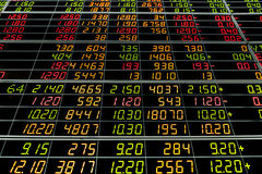 Display board of Stock. Market quotes royalty free stock photos