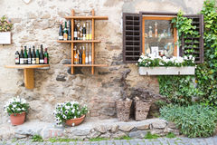 Display of bottles outside liquor store in Durnstein, Austria Royalty Free Stock Photos