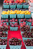 Display of boxes of fresh fruit Stock Photography