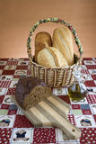 Display of bread on a cutting board. Royalty Free Stock Image