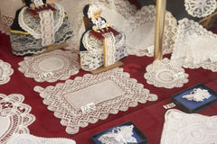 Display In Brussels Lace Shop Royalty Free Stock Images