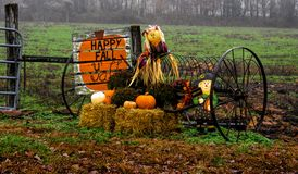 Fall Display. Display built by farm owner to welcome Fall Autumn stock photos