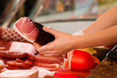 Display in a butcher's shop Stock Photography