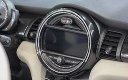 Display with buttons on the central console of the car royalty free stock photos