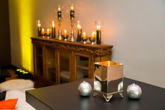 Display candles and lamps for decor at corporate event. Gala dinner Stock Photography