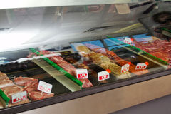 Display case. Of various meats Stock Photography