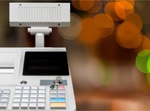 Cash register with LCD display on background. Display cash lcd register background money object Stock Photo