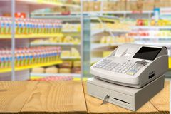 Cash register with LCD display on shop background. Display cash lcd register background money object Stock Photo