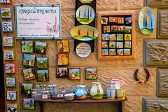 Display of ceramic souvenirs at a shop in Montalcino town, Val d Stock Photography