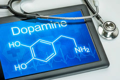 Display with the chemical formula of dopamine Royalty Free Stock Photo