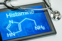 Display with the chemical formula of histamine stock photos