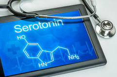 Display with the chemical formula of serotonin. Tablet with the chemical formula of serotonin stock image