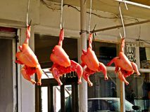display chicken at butcher shop in Muree, Pakistan royalty free stock photos