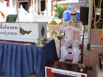 Display for coffin donation in Pattaya Thailand. A somewhat bizarre display soliciting a donation for coffins for the poor at Buddhist temple in Pattaya Thailand Royalty Free Stock Image