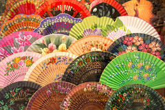 Display of coloful spanish fans Stock Image