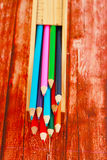 Display of colored pencils Royalty Free Stock Photos
