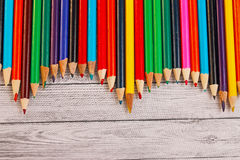 Display of colored pencils Stock Image