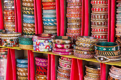 Display of colorful bangels inside City Palace in Jaipur, India Stock Images