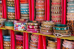 Display of colorful bangels inside City Palace in Jaipur, India Royalty Free Stock Photos