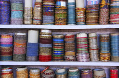 Display of colorful bracelets, Bundi, Rajasthan, India Royalty Free Stock Photography