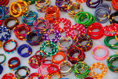 Display of colorful bracelets at the market Stock Image