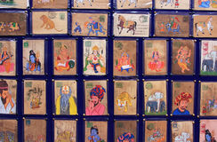 Display of colorful drawing, Udaipur market, India Royalty Free Stock Images