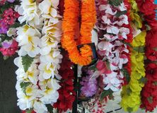 Display of colorful leis in Hawaii Stock Photo
