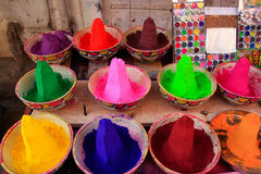 Display of colorful paint at the market, Pushkar, India Royalty Free Stock Photos